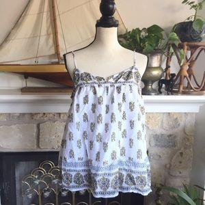 Joie paisley floral block print swing tank top